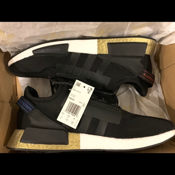 Adidas Shoes Nmd R1 V2 Core Black Gold Metallic Poshmark